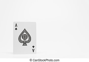 Black Spade Ace card on white background and selective focus