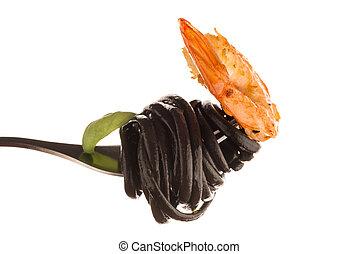 Black spaghetti with shrimps