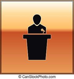 Black Speaker icon isolated on gold background. Orator speaking from tribune. Public speech. Person on podium. Vector Illustration