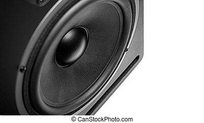 Black speaker isolated on white background.
