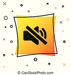 Black Speaker mute icon isolated on white background. No sound icon. Volume Off symbol. Yellow square button. Vector Illustration