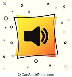Black Speaker volume icon - audio voice sound symbol, media music icon isolated on white background. Yellow square button. Vector Illustration