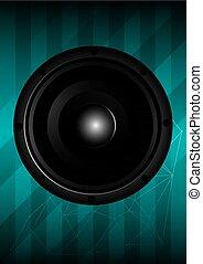 Black speaker with lines. vector illustration