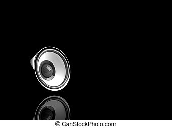black speaker with reflection on the black