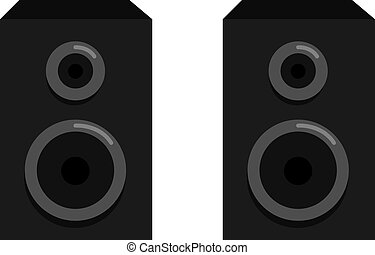 Black speakers, illustration, vector on white background.