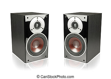 Black speakers isolated on white