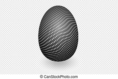 Black speckled egg on white with shadow on a transparent background, Easter.