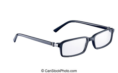 black spectacles on a white background with clipping path