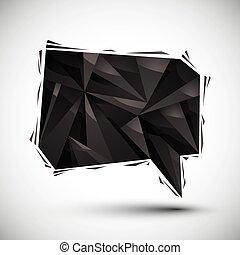 Black speech bubble geometric icon made in 3d modern style, best