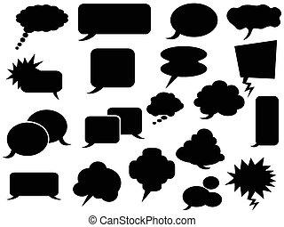 black speech bubbles icons