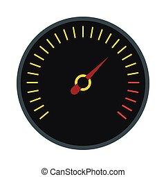 Black speedometer icon, flat style