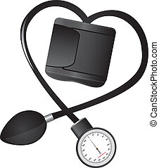 black sphygmomanometer hearth-shaped isolated vector illustration