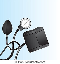 black sphygmomanometer over blue background close up vector