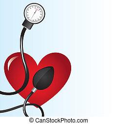 sphygmomanometer - black sphygmomanometer over red heart...