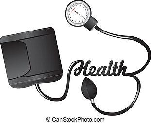 sphygmomanometer - black sphygmomanometer with health text...