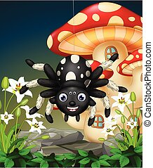 Black Spider Hanging on Spider Web in Tropical Forest With White Ivy Flowers and Red White Mushroom House Cartoon