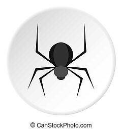 Black spider icon circle