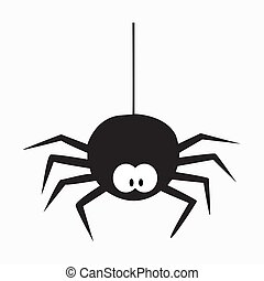 Black spider icon on a white background