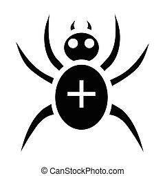 Black spider icon, simple style