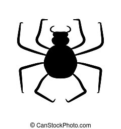 Black spider on a white background. Vector illustration. Hand drawing