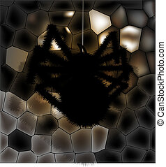 black spider on the wall