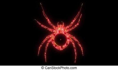 spider silhouette, close-up spider, scary big spider - Black...