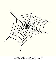 Black spider web on white background. Design element, icon. Vector.