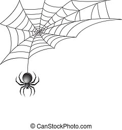 Black scary spider insect with web background vector illustration