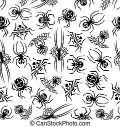 Black spiders seamless halloween background