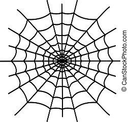 Black spiderweb isolated on white background