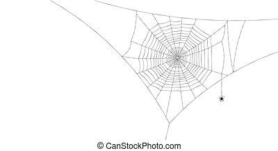 Black spiderweb with spider hanging down. - Black spiderweb ...