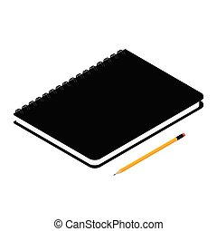 Black spiral notebook isolated and pencil on white background isometric view