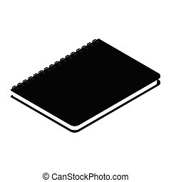 Black spiral notebook isolated on white background isometric view