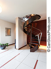 Black spiral stairs