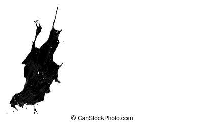 black splash. big spilling in slow motion. colored oil