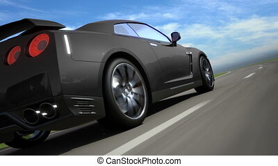 Black sport car moving on the road, loop-ready