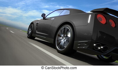 Black sport car moving on the road, loop-ready, high quality 3d render