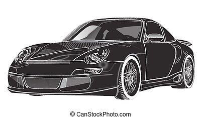 Black sport coupe car, on white bac
