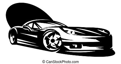 Black sportcar. Element for design. Monochrome vector ...