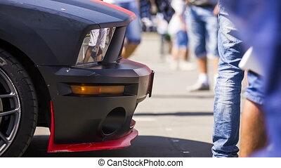 Black Sportive Car At Exhibition