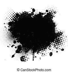 Black spot of paint on a white