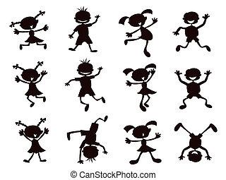 black , spotprent, geitjes, silhouette