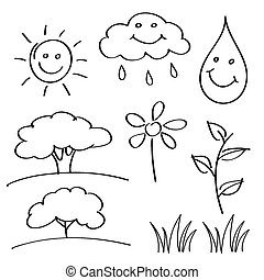 black spring - summer hand drawn sketches