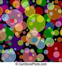 Black square background with multicoloured balls
