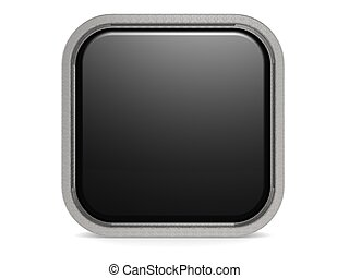 Black square button - Hi-res original 3d-rendered computer...