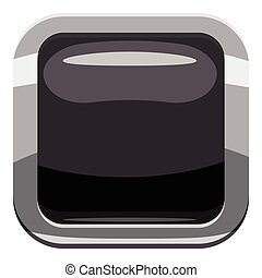 Black square button icon, cartoon style