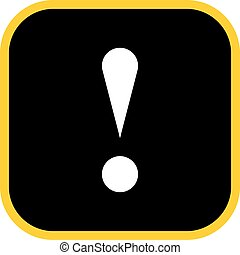 Black square exclamation mark icon warning sign