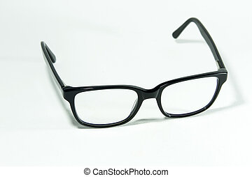 Black square frame glasses on isolated