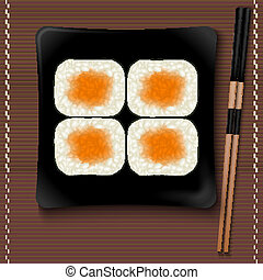 Black square plate with sushi and chopsticks