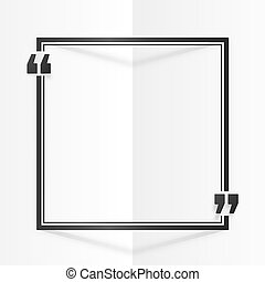 Black square quote frame at white folded paper background
